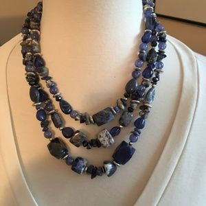 Chico's Triple Strand Blue Stone Necklace